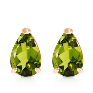 14K. SOLID GOLD STUD EARRING WITH NATURAL PERIDOTS